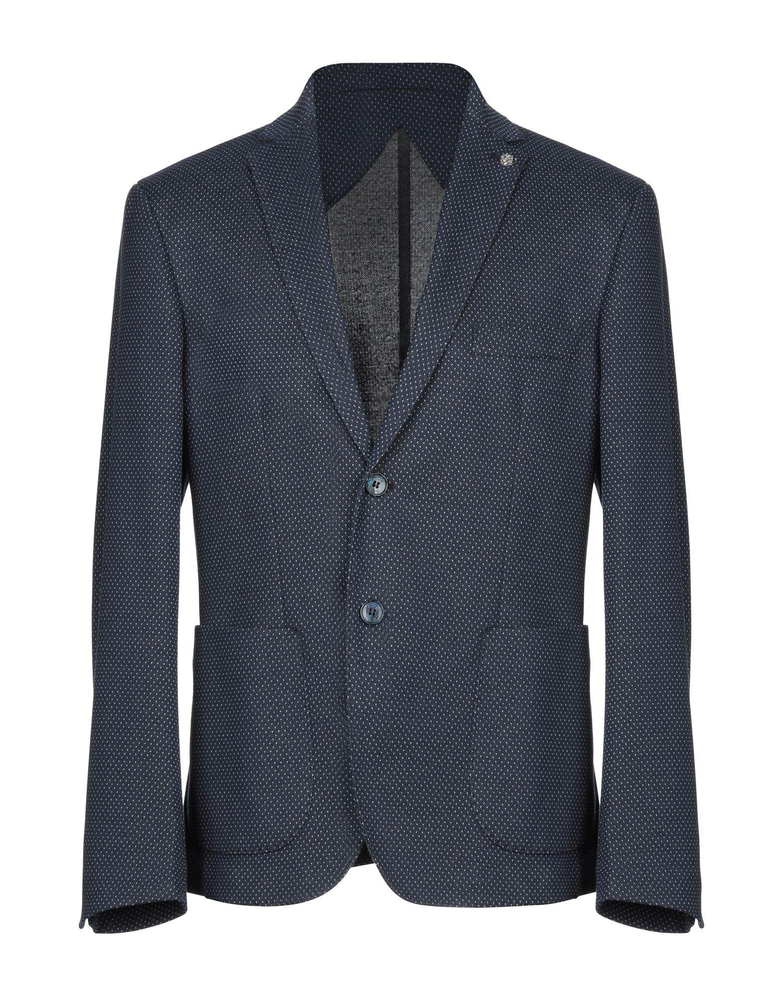 《送料無料》EREDI DEL DUCA メンズ テーラードジャケット ダークブルー 52 ポリエステル 60% / コットン 40%