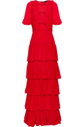 GIAMBATTISTA VALLI Tiered pintucked silk-chiffon gown