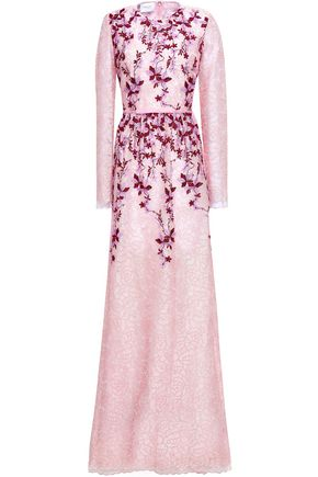 GIAMBATTISTA VALLI Floral-appliquéd embroidered tulle gown
