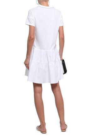 BRUNELLO CUCINELLI Bead-embellished cotton-jersey and poplin mini dress