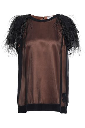 BRUNELLO CUCINELLI Layered feather-trimmed stretch-silk organza T-shirt