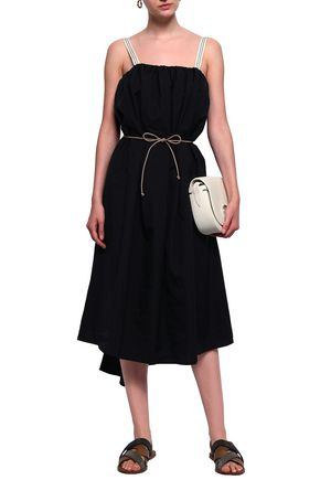 BRUNELLO CUCINELLI Belted bead-embellished cotton-blend poplin midi dress