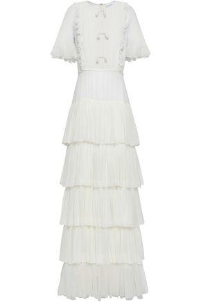 GIAMBATTISTA VALLI Tiered pintucked silk-chiffon gown