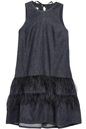 BRUNELLO CUCINELLI Feather-embellished tiered cotton-chambray mini dress