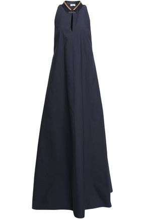 BRUNELLO CUCINELLI Bead-embellished crinkled cotton-blend maxi dress