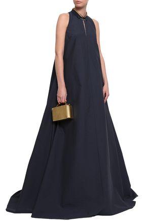 BRUNELLO CUCINELLI Bead-embellished crinkled cotton-blend maxi dress