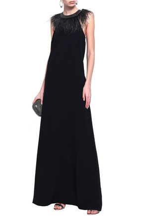 BRUNELLO CUCINELLI Feather and bead-embellished crepe gown