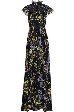 GIAMBATTISTA VALLI Lace-paneled floral-print silk-chiffon gown