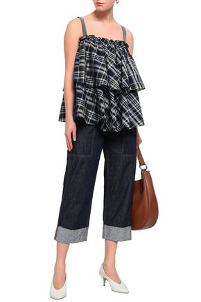 BRUNELLO CUCINELLI Bead-embellished tiered checked cotton-blend top