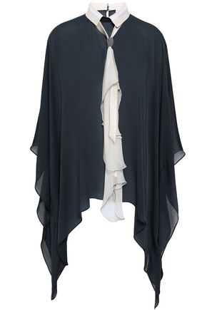 BRUNELLO CUCINELLI Tie-neck bead-embellished draped silk-chiffon blouse
