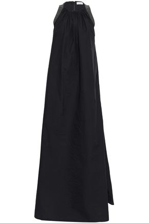 BRUNELLO CUCINELLI Bead-embellished crinkled cotton-blend poplin gown