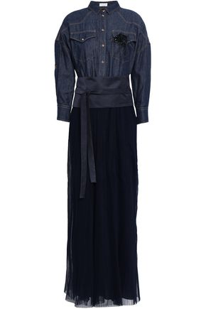 BRUNELLO CUCINELLI Embellished denim, satin and pleated tulle maxi dress