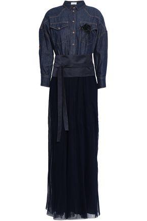BRUNELLO CUCINELLI Paneled cotton denim and tulle maxi dress