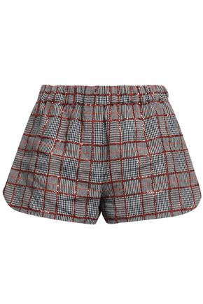 BRUNELLO CUCINELLI Sequined checked linen shorts
