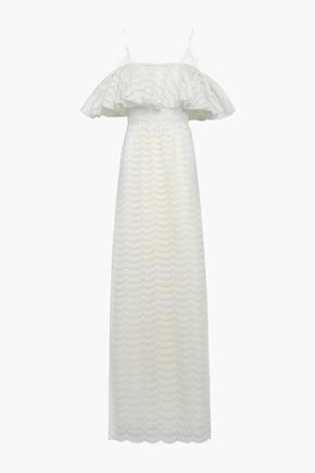 GIAMBATTISTA VALLI Cold-shoulder ruffled lace gown
