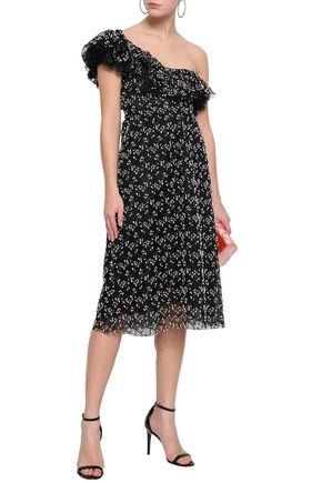 GIAMBATTISTA VALLI One-shoulder embroidered cotton-blend tulle midi dress