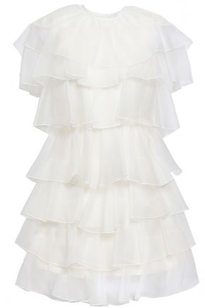 GIAMBATTISTA VALLI Tiered ruffled silk-organza mini dress