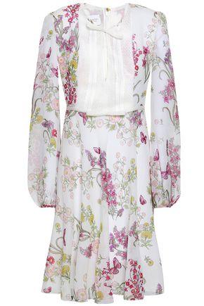 GIAMBATTISTA VALLI Lace-paneled floral-print silk crepe de chine dress