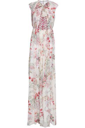 GIAMBATTISTA VALLI Lace-paneled floral-print silk maxi dress