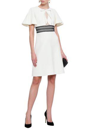 GIAMBATTISTA VALLI Crochet-trimmed cutout crepe dress