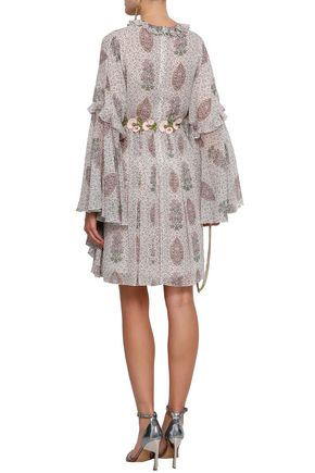 GIAMBATTISTA VALLI Appliquéd floral-print silk-chiffon mini dress