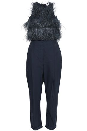 BRUNELLO CUCINELLI Layered embellished cotton-blend poplin jumpsuit