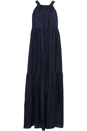 BRUNELLO CUCINELLI Bead-embellished tiered silk maxi dress