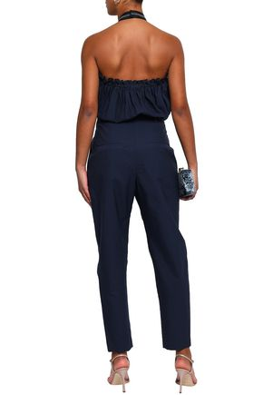BRUNELLO CUCINELLI Cotton-blend poplin halterneck jumpsuit