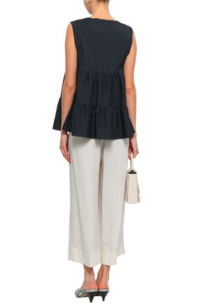 BRUNELLO CUCINELLI Tiered stretch-silk top
