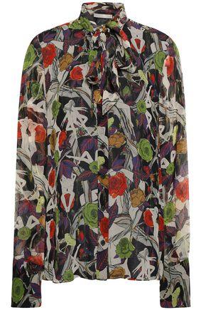 JASON WU Pussy-bow printed silk-chiffon blouse