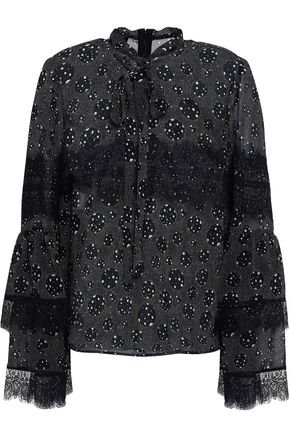 GIAMBATTISTA VALLI Pussy-bow printed silk-chiffon blouse