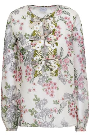 GIAMBATTISTA VALLI Bow-detailed floral-print silk crepe de chine blouse