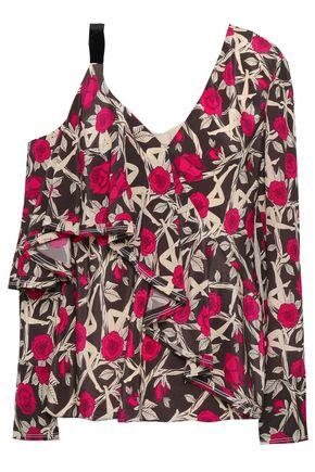 JASON WU Cutout ruffled silk crepe de chine blouse