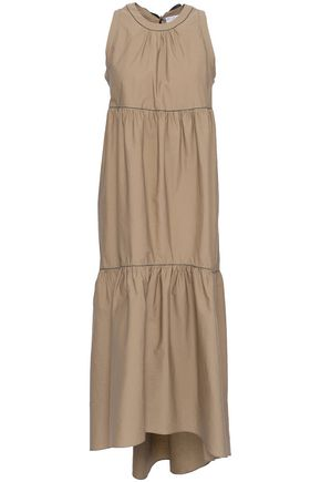 BRUNELLO CUCINELLI Bead-embellished tiered cotton-blend poplin midi dress