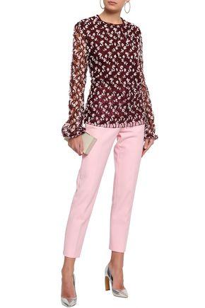 GIAMBATTISTA VALLI Floral-appliquéd embroidered cotton-blend tulle blouse
