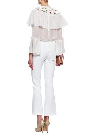 GIAMBATTISTA VALLI Lace-trimmed silk-organza blouse