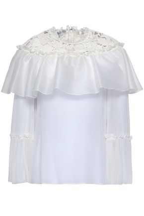GIAMBATTISTA VALLI Lace-trimmed silk-organza blouse