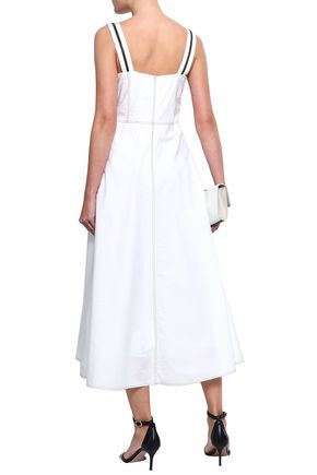 BRUNELLO CUCINELLI Bead-embellished cotton-blend poplin midi dress