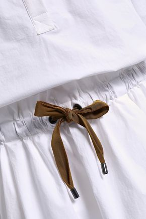 BRUNELLO CUCINELLI Embroidered stretch-cotton poplin mini shirt dress