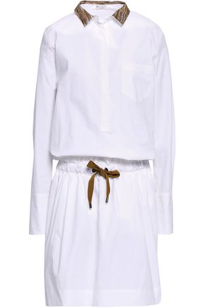 BRUNELLO CUCINELLI Embroidered stretch-cotton poplin mini shirt dress