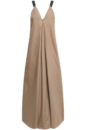 BRUNELLO CUCINELLI Bead-embellished cotton-poplin maxi dress