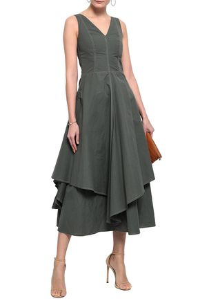 BRUNELLO CUCINELLI Flared cotton-blend poplin midi dress