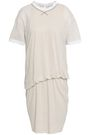 BRUNELLO CUCINELLI Gathered slub linen and silk-blend jersey mini dress