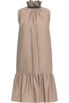 BRUNELLO CUCINELLI Bead-embellished gathered cotton-blend mini dress