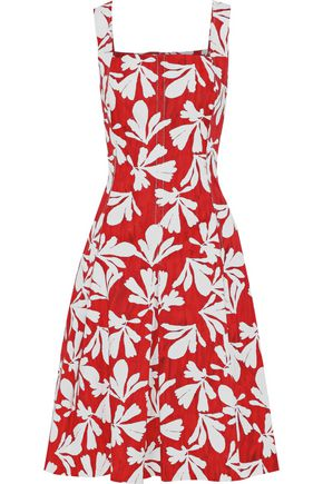 OSCAR DE LA RENTA Pleated printed stretch-cotton twill dress
