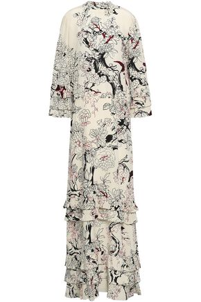 VALENTINO Tiered floral-print silk crepe de chine gown