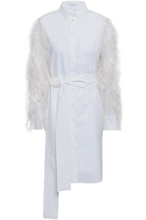 BRUNELLO CUCINELLI Feather-trimmed organza and cotton-blend poplin mini dress