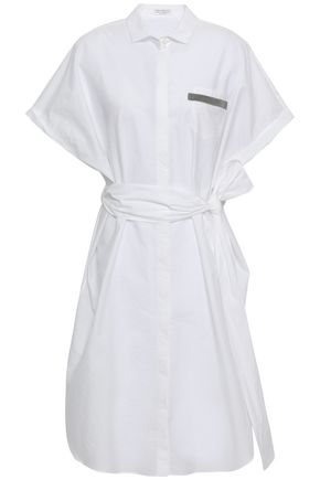 BRUNELLO CUCINELLI Bead-embellished cotton-blend poplin shirt dress