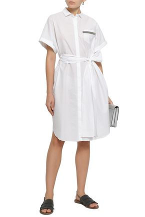 BRUNELLO CUCINELLI Bead-embellished cotton-blend poplin shirt dress