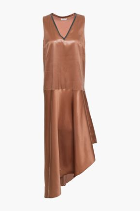 BRUNELLO CUCINELLI Asymmetric bead-embellished silk-satin midi dress